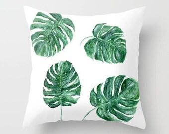 Monstera Leaf Throw Pillow, tropical leaf pillow, monstera leaf pillow, palm leaf pillow, botanical pillow, modern pillow
