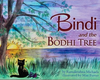 Bindi and the Bodhi Tree, yoga life from a cat's perspective, cat yoga and meditation, cat ashram, yoga cat, RK Michaels, art by Mae Porter
