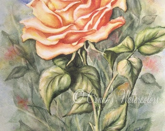 Original Watercolor Painting Yellow Rose Nature Floral Flower Garden Art Petals Peace Rose Friend Signed with COA