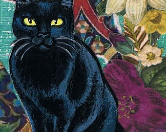 Black Cat, Original Mixed Media, ACEO, Art Trading Card, One of a kind