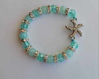 Light Turquoise Hair Bracelet with crystal starfish