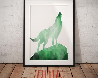 Wolf Print, Emerald Wolf Poster, Wolf Wall Art, Watercolor, Wolf download, Instant Download, digital art, Art #ForestAnimalsCollection Wolf