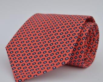 Coral and Navy Boy's Necktie Toddler Necktie Baby Necktie
