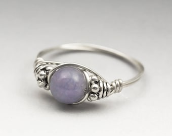 Lavender Chalcedony Bali Sterling Silver Wire Wrapped Bead Ring - Made to Order, Ships Fast!