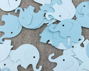 Blue Baby Elephant Confetti, 25 50 100 PCS, Baby Shower Decor, Baby Shower Confetti, Card Confetti, Paper Embelishments, Elephant Cut Outs