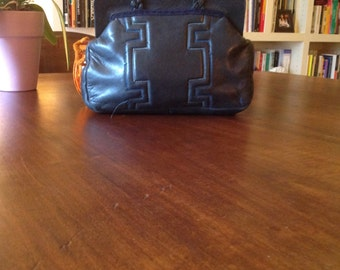1960's small navy blue leather handbag, pochette with delicate sticking and plaited leather handles.