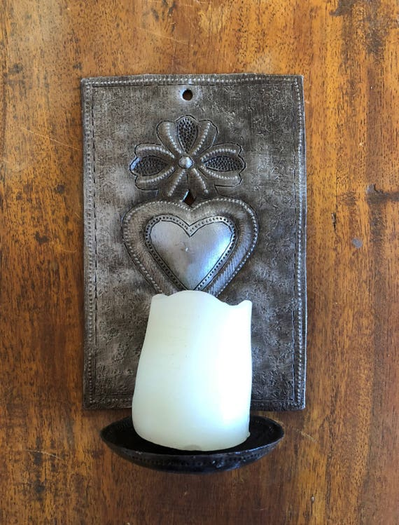 """Metal Heart Wall Sconce Candle Holder, """"Milagros"""" design Crafted in Haiti 4"""" x 6"""" x 3"""" (candles not included)"""
