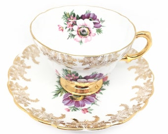 Rosina Gold Filigree Floral Tea Cup and Saucer, Shower, Tea Party, Wedding