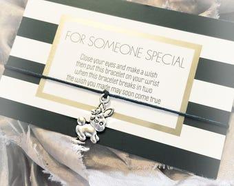 Wish Bracelet, Bunny Rabbit charm, friendship bracelet