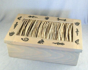 Artsy Keepsake Box // Southwest Design // Sacred Animals // Hand-Painted // Wood & Twig // Trinket // Treasure // Storage // Jewelry Box