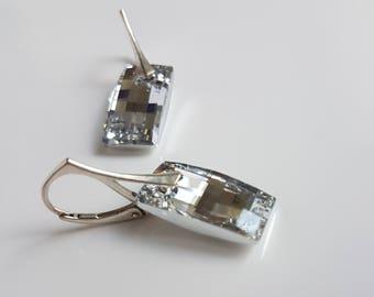 Urban Swarovski Earrings, Checkered Pattern, Sterling Silver, Leverback