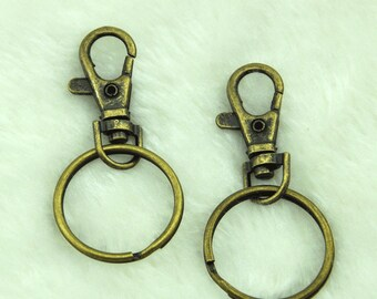 20%off Lobster Swivel Clasps and Key Ring.DIY key chain supplies metal key ring with chain, 30mm metal ring, key holder rings--