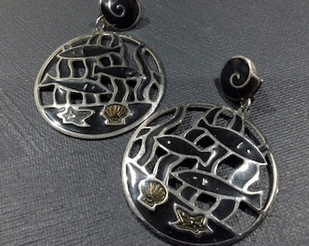 Edgar Berebi Silver Chrome & Black Enamel Large Fish Earrings Vintage 1980's