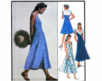 """Women's Dress Sewing Pattern Fitted Cross-Over Bodice Full Flared Skirt Deep V Back Vintage 80s Size 12 1416 Bust 34-38"""" Style 1561 S"""