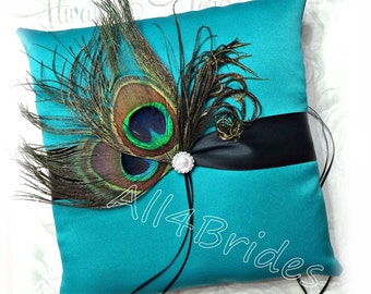 Peacock wedding ring pillow, teal blue and black ring bearer pillow, peacock feathers ring cushion.
