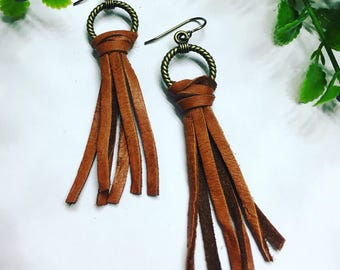Deerskin lace tassel and toggle earrings; earrings; dangle earrings; leather earrings; brass ear wire