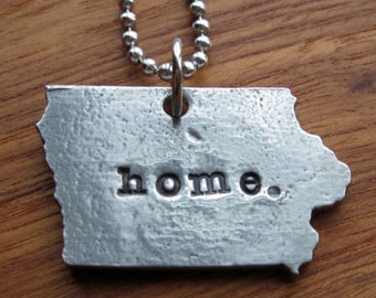 Personalized Iowa Necklace/Ornament/Key Chain-Gift for Her-Silver Necklace-Jewelry-Iowa Necklace-Iowa Jewelry-Iowa-Iowa State-Iowa Pride