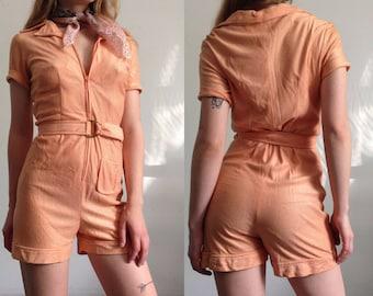 Vintage Peach 1970s Front Zipper Romper Coverup Sunsuit Jumpsuit Playsuit Shorts