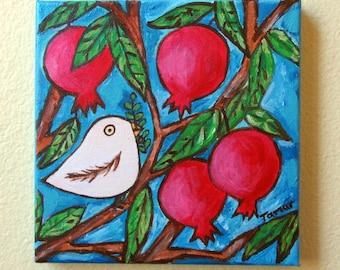 Friedenstaube auf ein Granatapfelbaum, Original Acryl Gemälde, Malerei auf Leinwand, 8 X 8, Taube Shalom Kunstwerk blau, Frieden mit Olivenzweig
