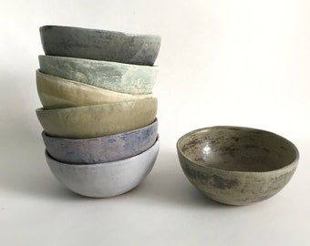 Hand-Crafted Stoneware Pottery Bowls in Two Sizes and Multiple Colors, Made to Order