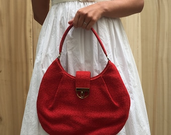 Vintage 60's Red Tweed Hobo Purse with Tiki Lining