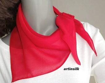 Triangular Kerchief Scarf Red, Black Headband, White or Blue Small Hair Ponytail Scarf, Neck Scarf 100% Silk, White headband, Artinsilk