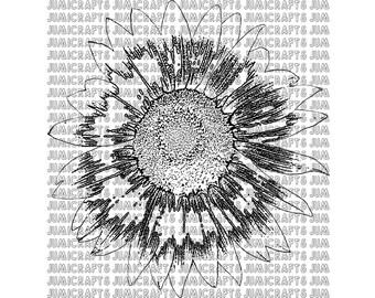 Sunflower Digital Stamp, Clip Art, Line Art