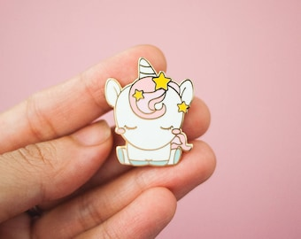 Kawaii Unicorn with Stars Pin - Gold Enamel Pin - Cute Unicorn Lapel Pin - Enamel Pin