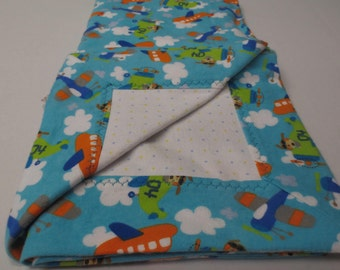 Receiving Blanket, Flannel Receiving Blanket, Baby Blanket, Flannel Blanket, Mitered Corner Blanket, Airplane Baby Blanket, Baby Gift
