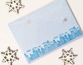 Snowy Cityscape Holiday Card