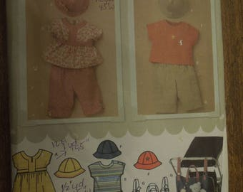 Babies' dress or top, pants, T-shirt, hat and stroller bag, UNCUT sewing pattern, craft supplies, Simplicity 3765