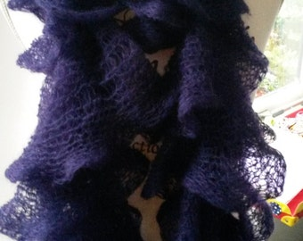 Purple ruffle scarf, knit scarf, womens scarf