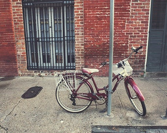 Bicycle Wall Art, New Orleans Fine Art Print, Schwinn Bike Picture, French Quarter Photograph, New Orleans Picture, Louisiana Urban Street