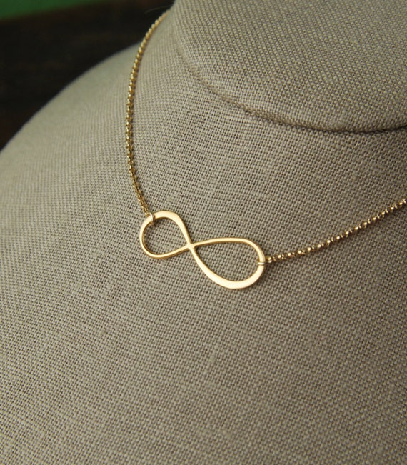 Large Gold Infinity Necklace Simple Gold Necklace Infinity