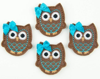 OWL - Embroidered Felt Embellishments / Appliques - Brown & Turquoise  (Qnty of 4) SCF6540