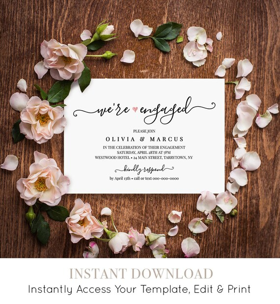 Engagement Invitation Announcement Template, We're Engaged Invite Printable, Modern Calligraphy, Fully Editable, Instant Download #030-204EP