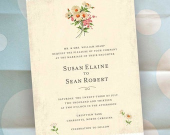 Personalized Floral Wedding Invitations - Flower Garden Theme - 100 Invitations