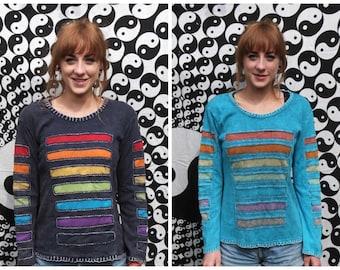 Ladies Long Sleeve Top Colourful Boho Hippy Panel Stripe Stonewash 8 10 12 14