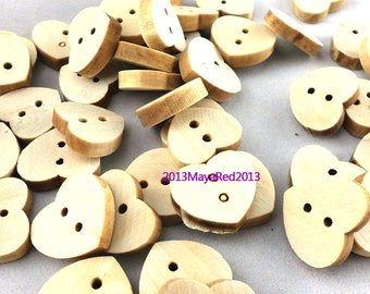 100PC wooden sewing buttons Heart Shaped DIY craft