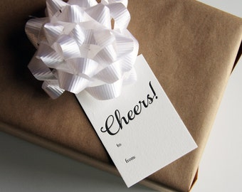 Letterpress Gift Tags - Cheers - Set of 9
