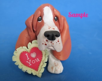 Red Tri Color Basset Hound DOG I Love (heart) You Sculpture Clay art by Sallys Bits of Clay