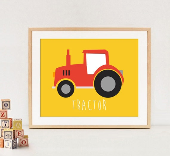 Tractor wall art Boys room wall decor yellow red cars and