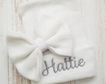 Newborn girl personalized hospital hat- baby girl hospital hat, baby girl hat, newborn hat, grey baby hat, newborn girl hat, baby bow