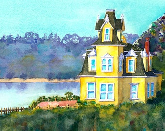 Landscape Painting, Original, Painting, Tree landscape, California scenery, Yellow House, Victorian Mansion, Watercolor art, wall art, Muren