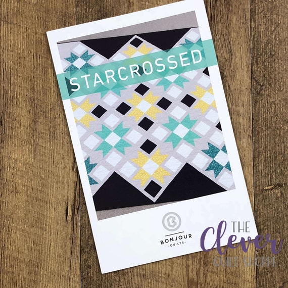 "Quilt Pattern, Starcrossed, Bonjour Quilts, Quarter Square Triangle, Quilt, 68.5"" x 68.5"", Star Quilt, Modern Quilt, Pattern, Blanket"