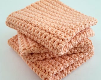 Crochet Wash Cloths Crochet Dish Cloths 100% Cotton Handmade Washrag Set of 3 Kitchen Dishcloths Facial Cloth Crocheted Dishcloth Set
