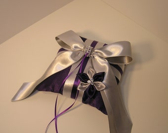 Wedding Purple and Silver Ring Bearer Pillow with Hand Made Flower-Custom order.