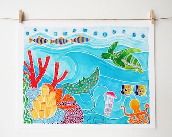 Beach Art - Coral Reef Print with Sea Turtle and Ray - Beach Decor - Coastal Home Decor - Colorful Beach Art - Surf Art - Sea Turtle Art