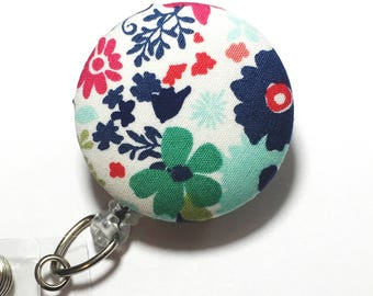 Teal and Navy floral badge reel id holder nurse Badge Clip for Nurses Name Badge Reel Retractable lD ID Badge Holder Badge Pull name tag