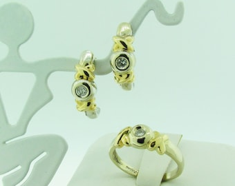Two-tone Gold and Diamond Ring and Earrings Set